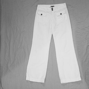 White gap linen cotton blend pant